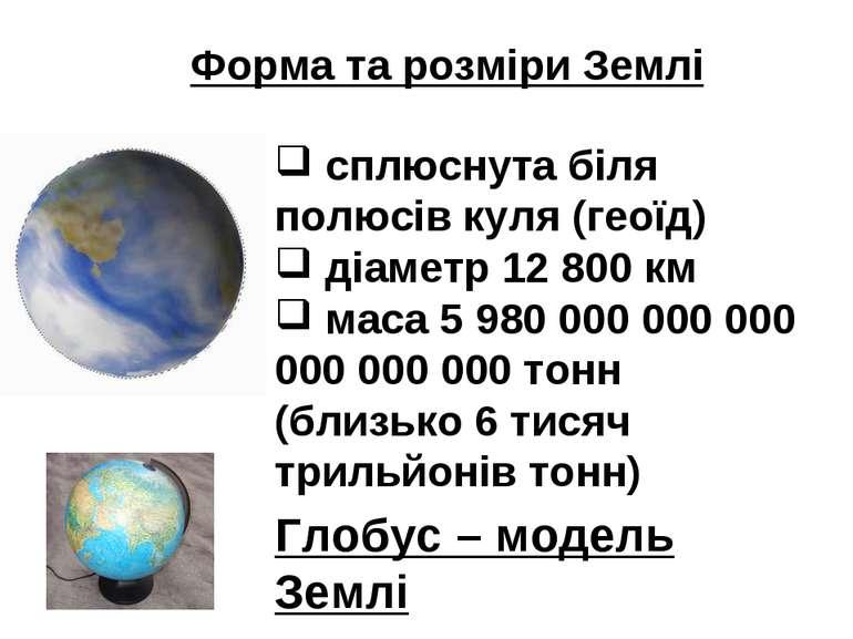 Форма та розміри Землі сплюснута біля полюсів куля (геоїд) діаметр 12 800 км ...