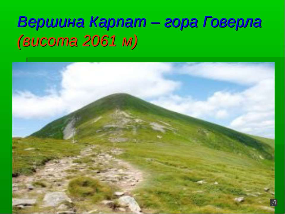 Вершина Карпат – гора Говерла (висота 2061 м)