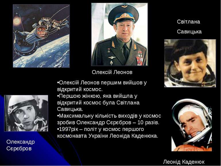 Олексій Леонов першим вийшов у відкритий космос. Першою жінкою, яка вийшла у ...