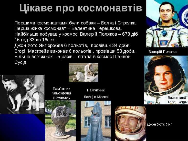 Цікаве про космонавтів Першими космонавтами були собаки – Бєлка і Стрєлка. Пе...