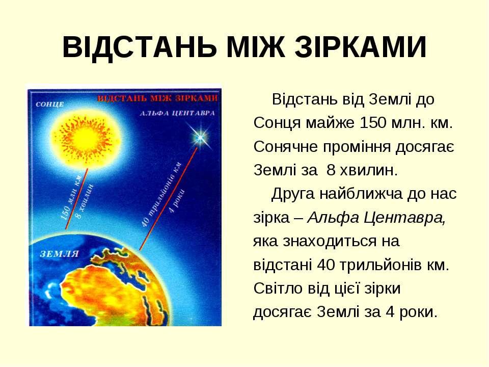 ВІДСТАНЬ МІЖ ЗІРКАМИ Відстань від Землі до Сонця майже 150 млн. км. Сонячне п...