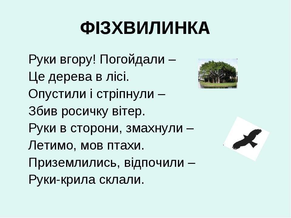 ФІЗХВИЛИНКА Руки вгору! Погойдали – Це дерева в лісі. Опустили і стріпнули – ...