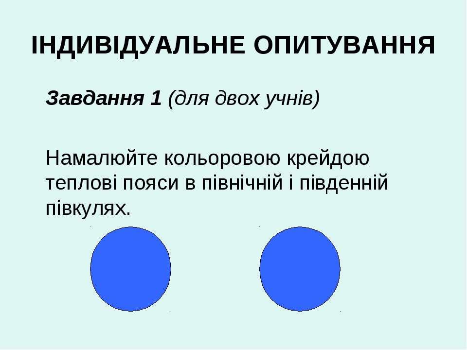 ІНДИВІДУАЛЬНЕ ОПИТУВАННЯ Завдання 1 (для двох учнів) Намалюйте кольоровою кре...