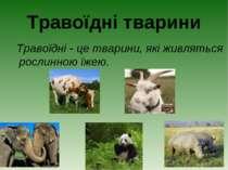 Травоїдні тварини Травоїдні - це тварини, які живляться рослинною їжею.