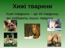 Хижі тварини Хижі тварини – це ті тварини, які поїдають інших тварин.