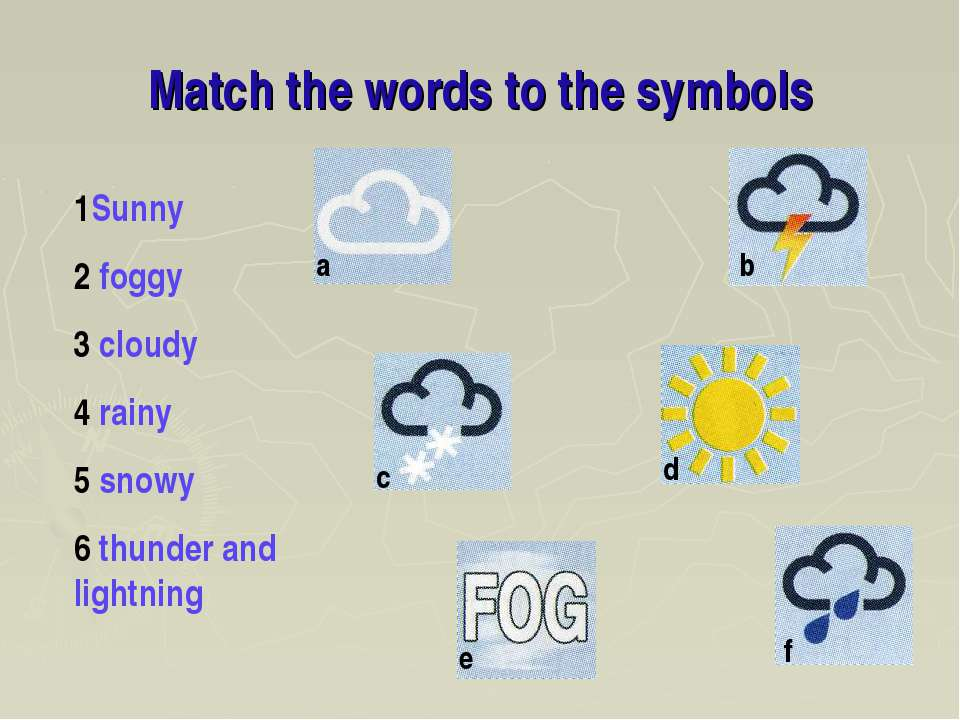 Match the words to the symbols 1Sunny 2 foggy 3 cloudy 4 rainy 5 snowy 6 thun...
