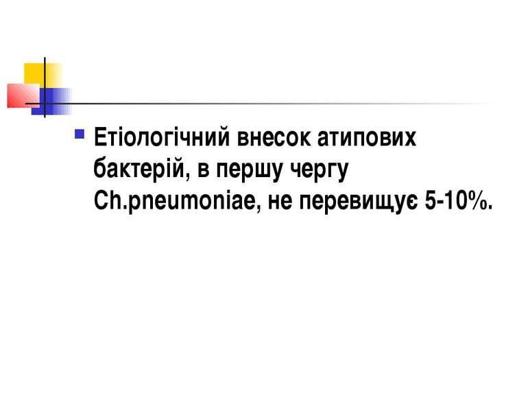Етіологічний внесок атипових бактерій, в першу чергу Ch.pneumoniae, не переви...