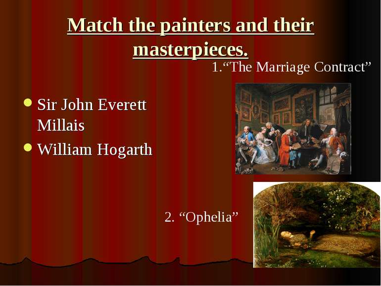 Match the painters and their masterpieces. Sir John Everett Millais William H...