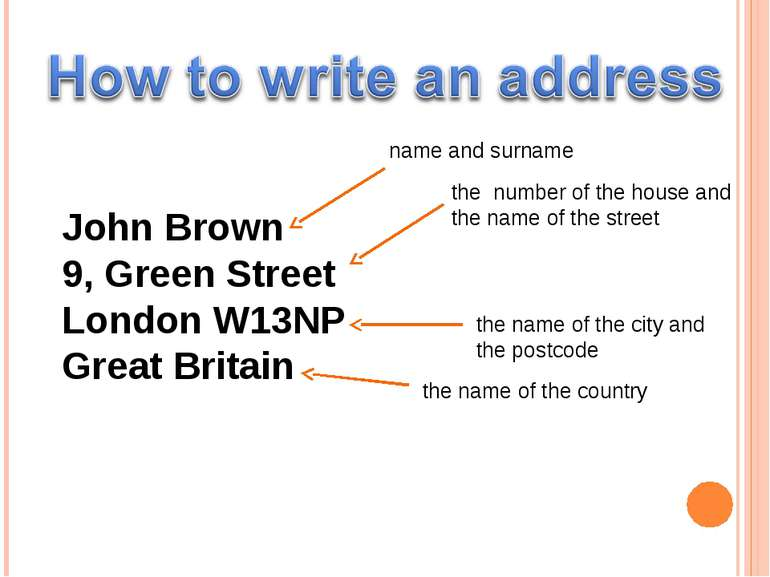 John Brown 9, Green Street London W13NP Great Britain name and surname the nu...