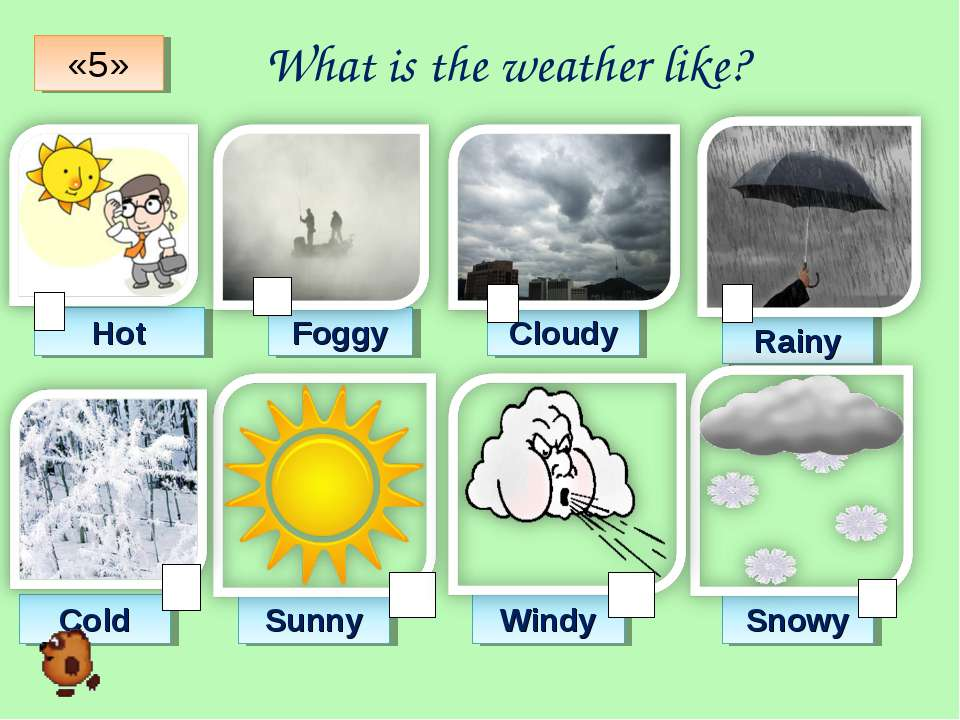 What is the weather like? Hot Foggy Cloudy Rainy Cold Sunny Windy Snowy «5»
