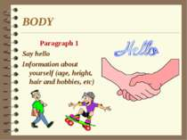 BODY Paragraph 1 Say hello Information about yourself (age, height, hair and ...