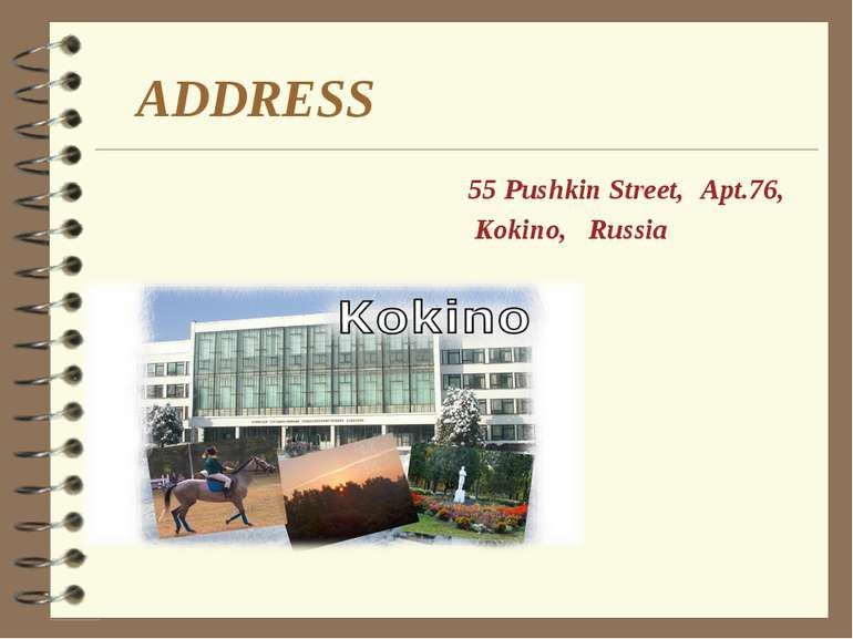 ADDRESS Apt.76, 55 Pushkin Street, Kokino, Russia