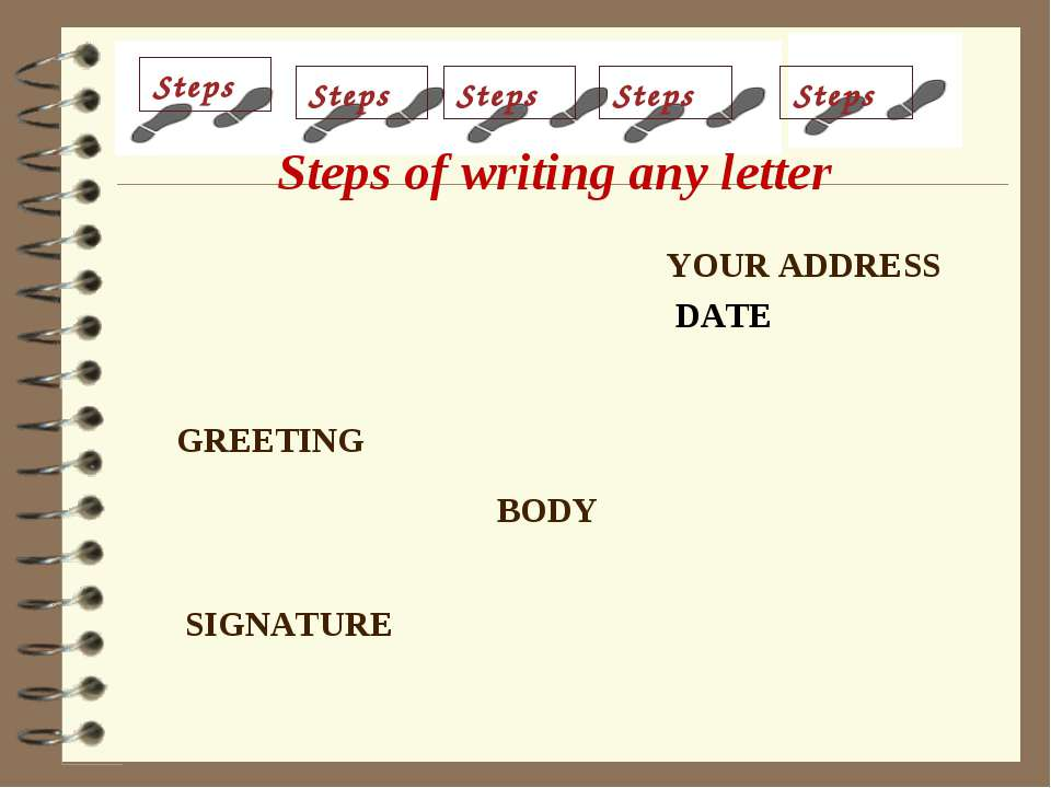YOUR ADDRESS DATE GREETING BODY SIGNATURE Steps Steps Steps Steps Steps Steps...