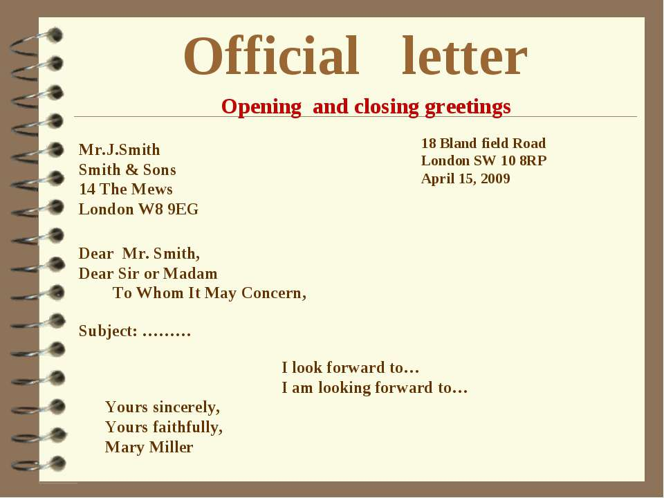 Official letter Mr.J.Smith Smith & Sons 14 The Mews London W8 9EG 18 Bland fi...