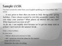 Sample tASK You have received a letter from your English-speaking pen-friend ...