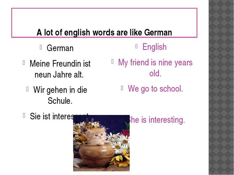 A lot of english words are like German German Meine Freundin ist neun Jahre a...