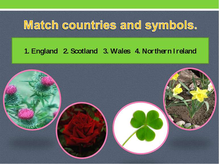 1. England 2. Scotland 3. Wales 4. Northern Ireland