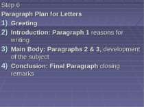 Step 6 Paragraph Plan for Letters Greeting Introduction: Paragraph 1 reasons ...