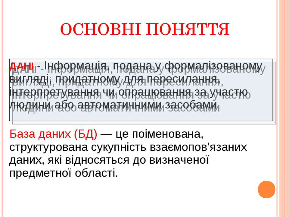 ОСНОВНІ ПОНЯТТЯ ДАНІ - Інформація, подана у формалізованому вигляді, придатно...