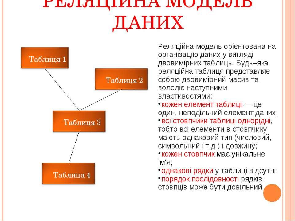РЕЛЯЦІЙНА МОДЕЛЬ ДАНИХ Реляційна модель орієнтована на організацію даних у ви...