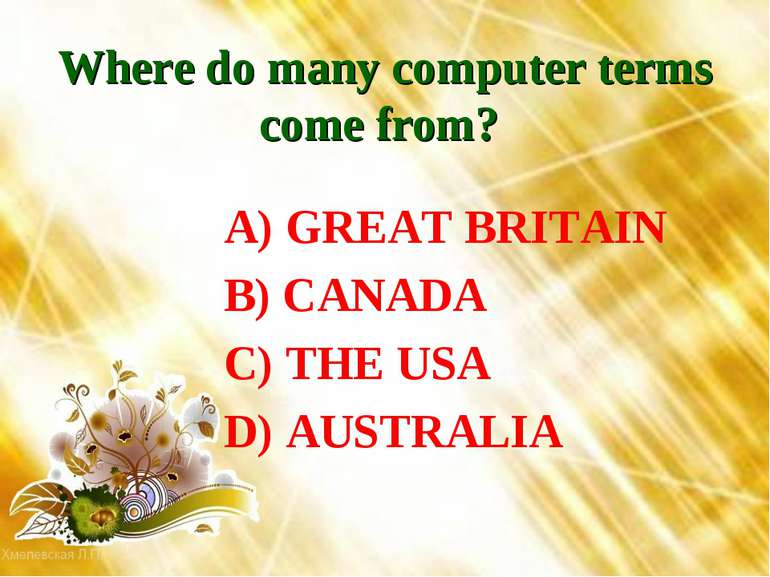 Where do many computer terms come from? A) GREAT BRITAIN B) CANADA C) THE USA...
