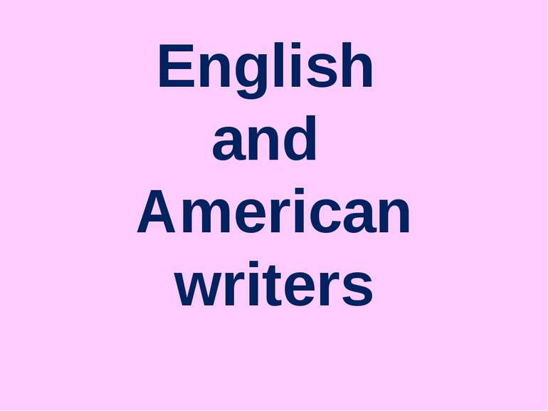 English and American writers