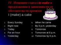 IV. Измените глагол to make в предложении в зависимости от обстоятельств врем...