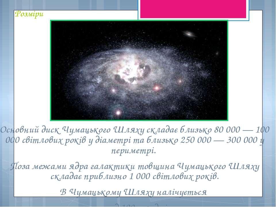 Розміри Основний диск Чумацького Шляху складає близько 80 000 — 100 000 світл...