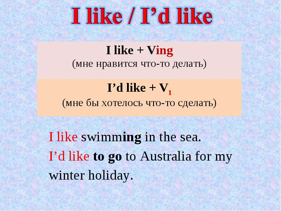 I like swimming in the sea. I'd like to go to Australia for my winter holiday...
