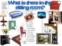 1.a table 2.an armchair 3.a sofa 4.a TV set 5.a carpet 6.a chair 7.curtains 8...