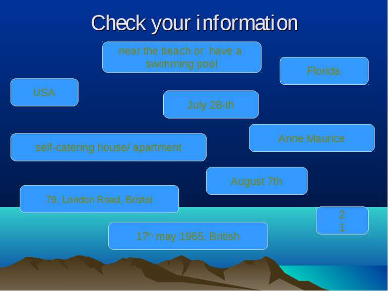 Check your information July 28-th Anne Maurice near the beach or have a swimm...