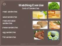 Matching Exercise Sorts of Sandwiches meat sandwiches salad sandwiches meat-a...