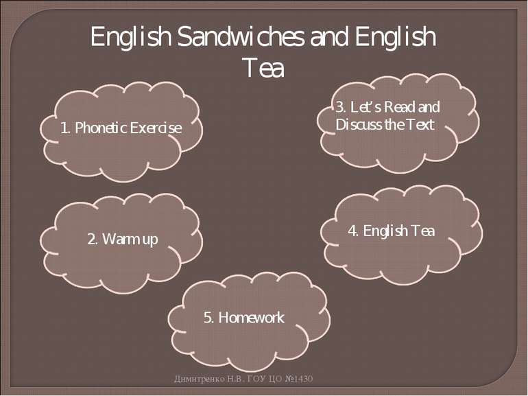 English Sandwiches and English Tea 1. Phonetic Exercise 2. Warm up 3. Let's R...
