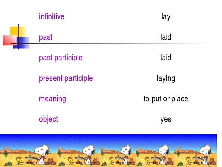 infinitive lay past laid past participle laid present participle laying meani...