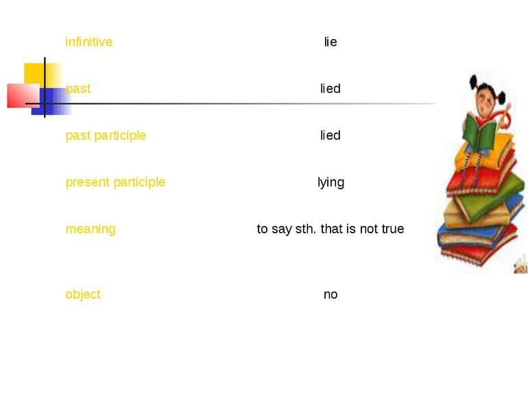 infinitive lie past lied past participle lied present participle lying meanin...