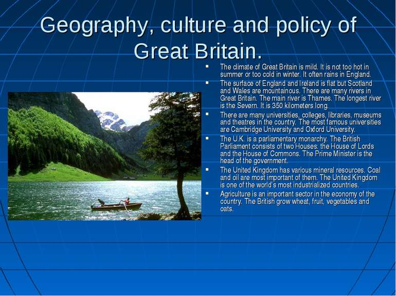 Geography, culture and policy of Great Britain. The climate of Great Britain ...