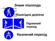 Знаки пішохода Пішохідна доріжка Підземний перехід Наземний перехід