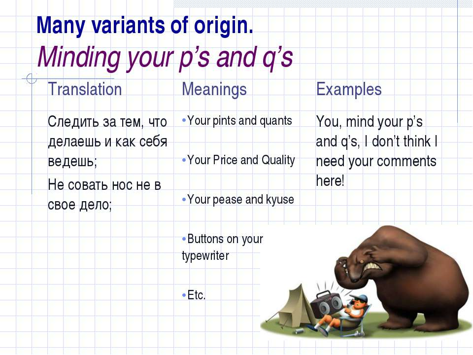 Many variants of origin. Minding your p's and q's
