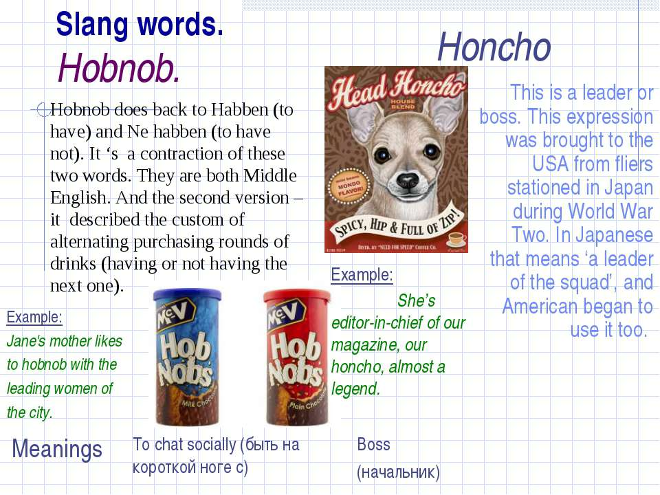 Slang words. Hobnob. This is a leader or boss. This expression was brought to...