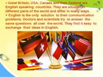 Great Britain, USA, Canada and New Zealand are English speaking countries. Th...