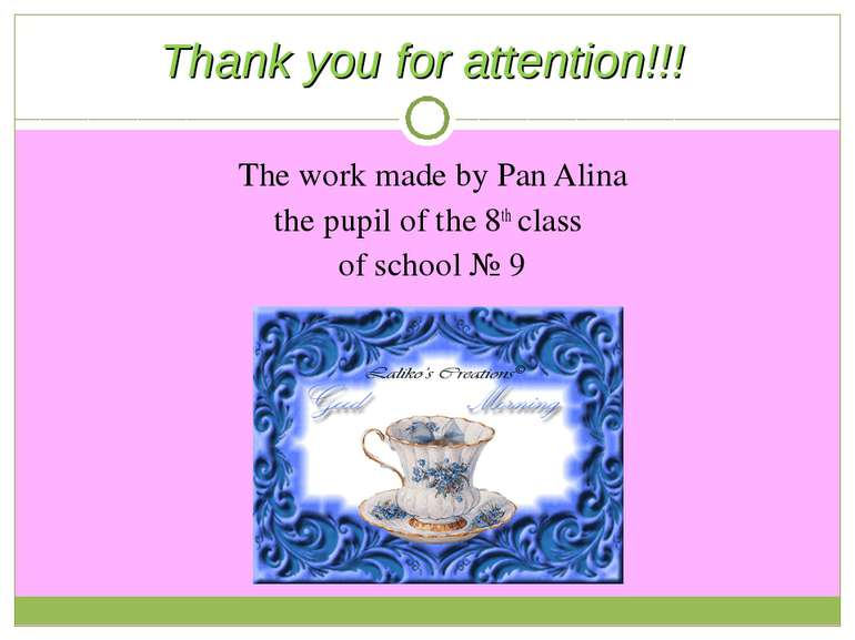 The work made by Pan Alina the pupil of the 8th class of school № 9 Thank you...