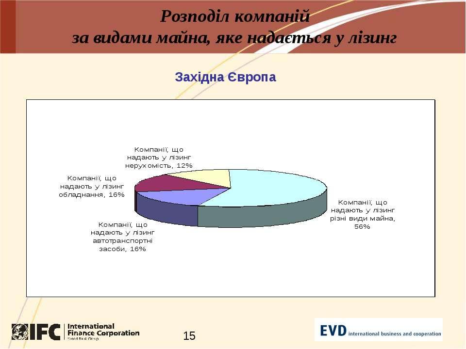Розподіл компаній за видами майна, яке надається у лізинг Західна Європа