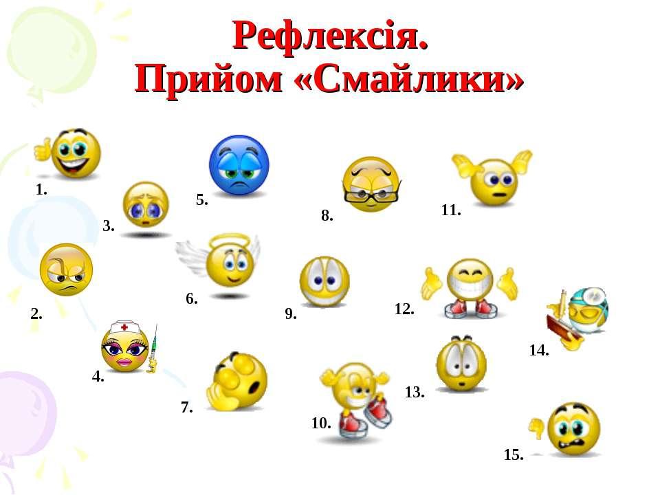 Рефлексія. Прийом «Смайлики» 1. 2. 3. 5. 6. 4. 7. 8. 9. 10. 11. 13. 12. 14. 15.