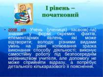 2008 рік Учень (учениця) засвоїв(-ла) знання у формі окремих фактів, елемента...
