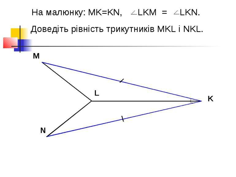 На малюнку: MK=KN, LKM = LKN. Доведіть рівність трикутників MKL і NKL. M L N K