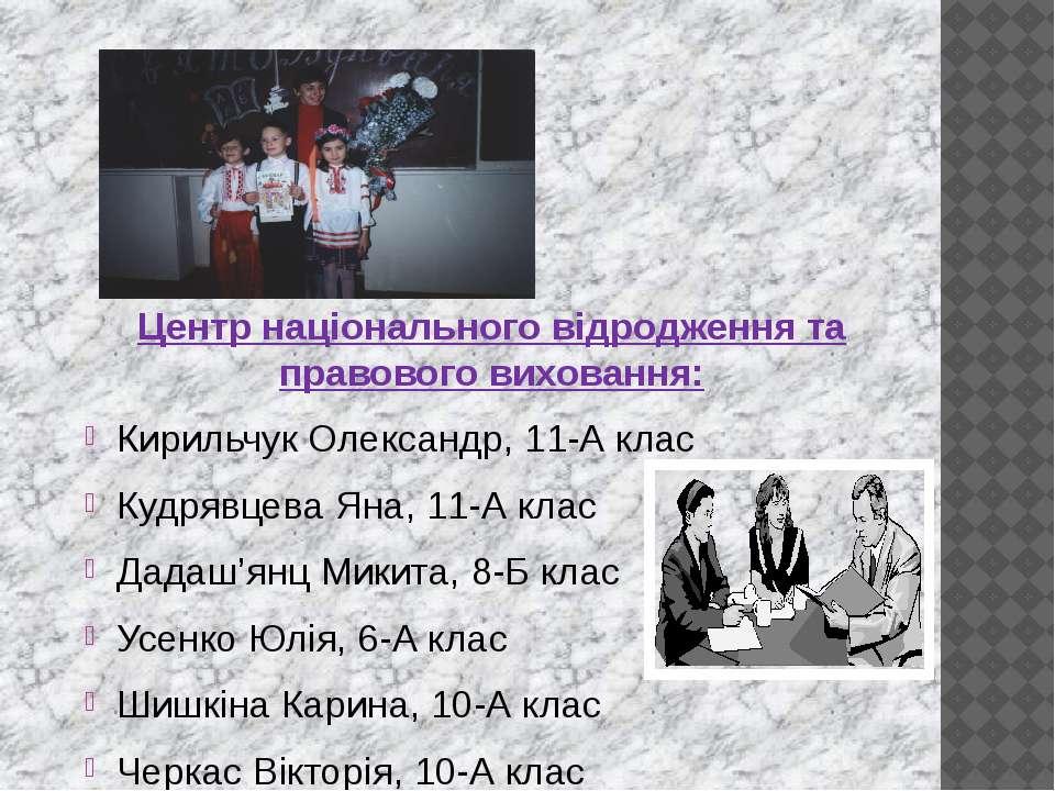 Центр національного відродження та правового виховання: Кирильчук Олександр, ...