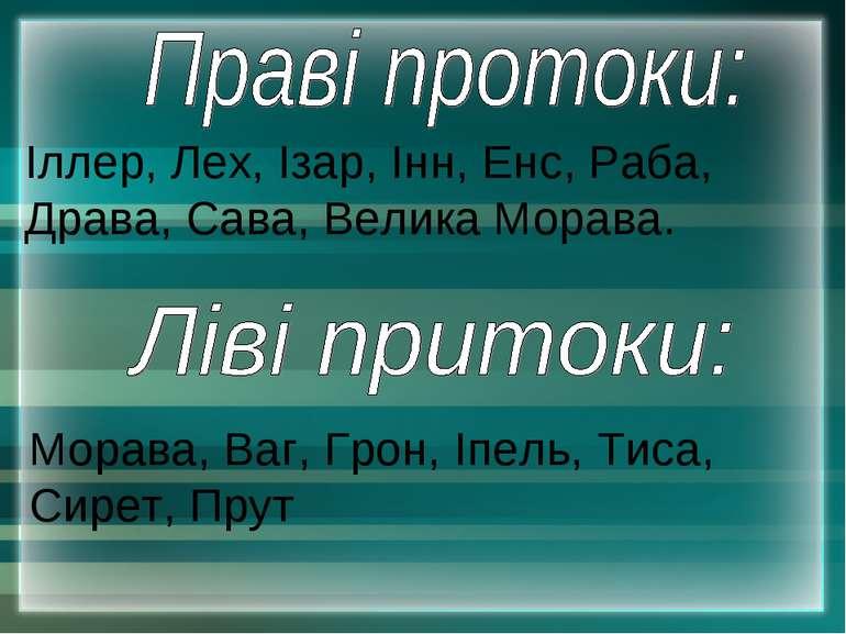 Іллер, Лех, Ізар, Інн, Енс, Раба, Драва, Сава, Велика Морава. Морава, Ваг, Гр...