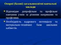Опорні (базові) загальноосвітні навчальні заклади Відповідне допрофільне та п...
