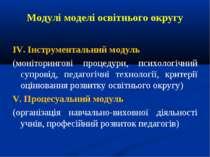 Модулі моделі освітнього округу ІV. Інструментальний модуль (моніторингові пр...