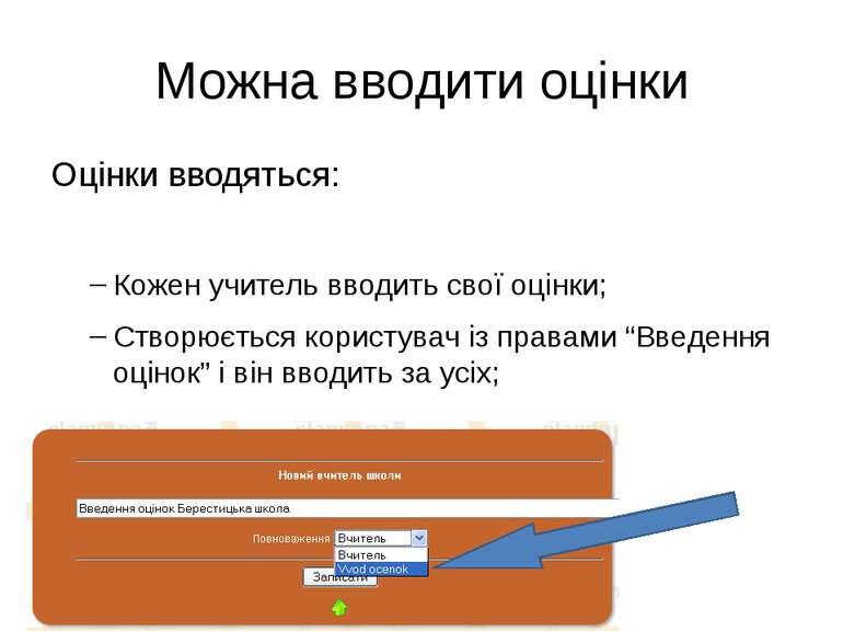 Можна вводити оцінки Оцінки вводяться: Кожен учитель вводить свої оцінки; Ств...